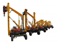 Multiple functional guardrail install drilling small holes hydraulic pile driver