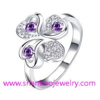 Silver Plated Costume Fashion Zircon Jewelry Rings