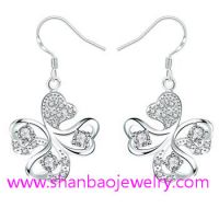 Silver Plated Costume Fashion Zircon Jewelry Earrings