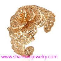 Gold Plated Zircon Jewelry Girls Women Ladies Woman Flower Party Zircon Bangles