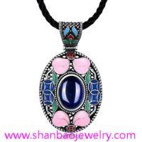Silver Plated Costume Fashion Jewelry China Style Corumdum Gemstone Women Woman Ladies Party Necklaces