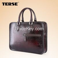 Briefcase Genuine Leather Calligraphy mens business bag laptop bag OEM