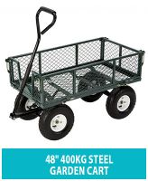 HEAVY DUTY GARDEN METAL CART TROLLEY TRAILER WHEELBARROW WITH LINING LARGE CART