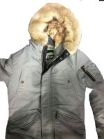 man parka with fur trim