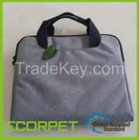 Recycled polyester cationic fabric for bags