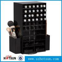 luxuriant in design black rotating acrylic lipstick holder