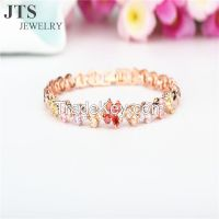 18K Rose Gold Plated Copper Bracelets Bangles Colorful Zircon Jewelry