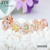 Colorful Flower Bracelet!! 18K Rose Gold Plated Copper Bangles Jewelry