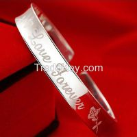 Engraved Silver Plated Copper Bracelet Bangle Women Engagement Jewelry