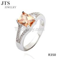 AAA Cubic Zircon Rings 18K White Gold Copper Engagement Wedding Bands