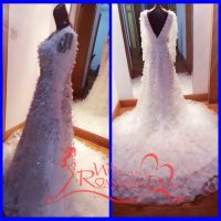 customized full beading a-line sleeveless v-back evening dress