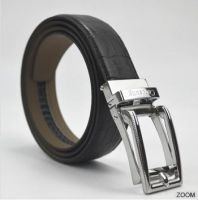 Carosung Genuine Cowhide Leather Silver Automatic Buckle Belt