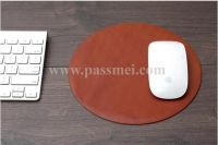 Genuine Brown Leather Office Computer Accessories Mouse Pad with Logo Custom