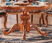 European style antique solid wood round dining table and chairs