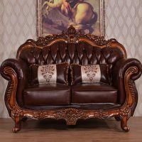 The living room genuine leather sofa set