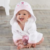 White prince crown cotton terry hooded baby bath robe