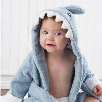 Organic bamboo fiber Shark Baby Gown Wrap Hooded bath robe