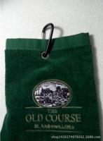 Golf Bowls Cricket Long ridge luxury velour 3 fold golf towel with metal clip