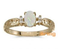 Solid 18k 9k 14k Gold Ring Oval Opal Ring Diamond Ring Wholesale Jewelry