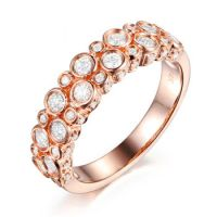 jewelry manufacturers Solid 18k 9k 14k Rose Pink Gold Diamond Rings