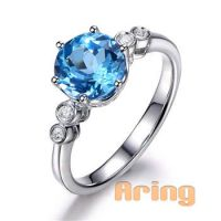 fine jewelry wholesale Solid 18k 9k 14k  Gold Topaz Rings