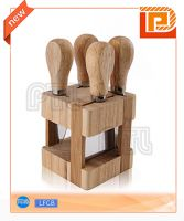 Wooden cheese set with cubic stand(5 pieces)