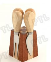 5-piece cheese set with cubic trapizoid magnetic stand