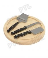 PP-handle cheese knife&soatula with lovely wooden chopping board(4 pieces)