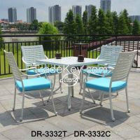 Garden patio aluminum white restaurant table and chairs