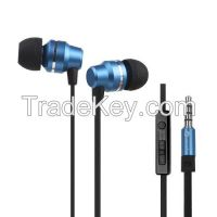 Metal in ear headphone earphone with MIC and remote contral for mobile
