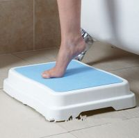 White plastic extra large platform half step stool bath step