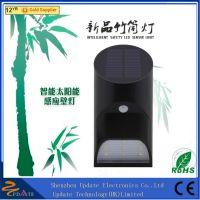 High lumen 0.9w motion sensor solar power fence wall lighting fixture