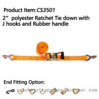 """CS3501 2"""" polyester Ratchet Tie down with J hooks and rubber handle"""