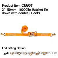 CS5005 2� 50mm 10000lbs Ratchet Tie down with double J Hooks