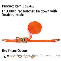 CS2702 1� 3300lbs red Ratchet Tie down with Double J hooks