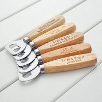 Premium Quality Flat Wooden Stainless Steel Bottle Opener with wood handle