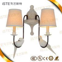 European style led retro chandelier lighting with Resin bird decoration