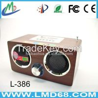 LMD-386 wooden remove control FM radio speaker