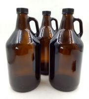 64oz amber/clear glass growler