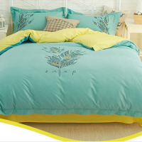 Printing Free Concise Cotton Bedding 4 Piece 2.0m Set With Stitching Flowers