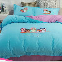 Washable Cotton Quilt Cover And Bed Sheet With Stitching Flowers