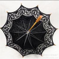 Sun Umbrella With Lace Macrame Black