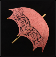 Western Style Handmade Sun Umbrella With Lace Coral