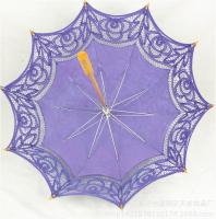 Handcraft  sun umbrella with  lace macrame (purple)