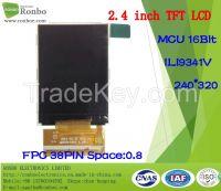 "2.4"" 240*320 MCU TFT LCD Display, Ili9341V, 38pin, for POS, Doorbell,"