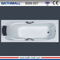 Modern plastic bathtub with pillow and handles