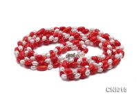 Oval Red Coral and White Pearl Necklace
