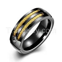 Free shipping Titanium Ring Black Wide Mysterious Ring Band Party Jewe