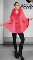 WOOL CASHMERE CAPE WITH  FOX COLLAR