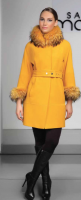 WOOL CASHMERE COAT WITH RACOON COLLAR AND SLEEVE
